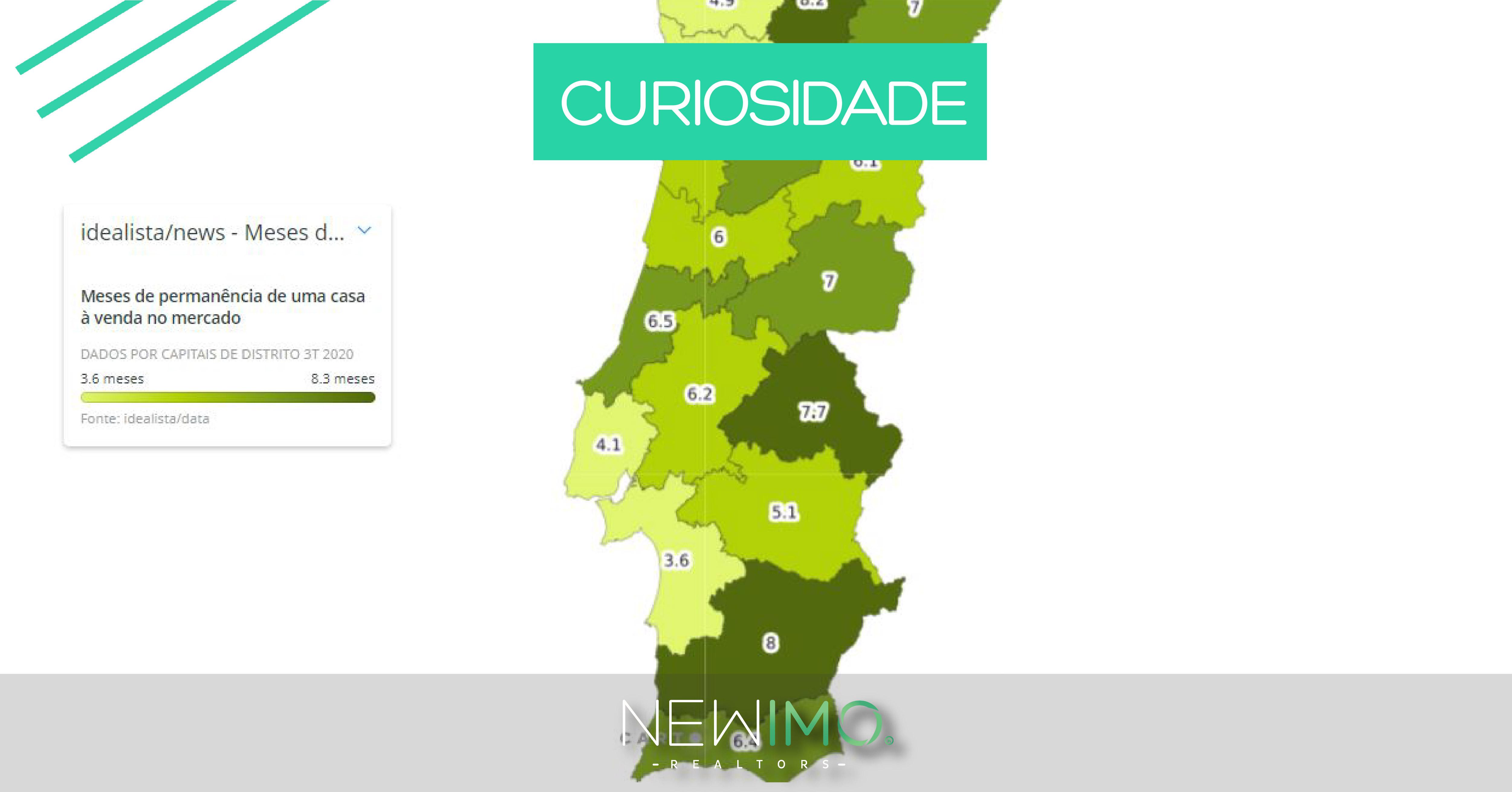 Quanto tempo se demora a vender uma habitação em Portugal - Mapa dos dados por distritos